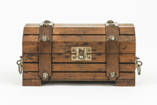Old Wood Toy Treasure Chest On...