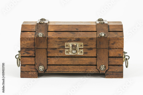 Old wood toy treasure chest on white.  #301433700