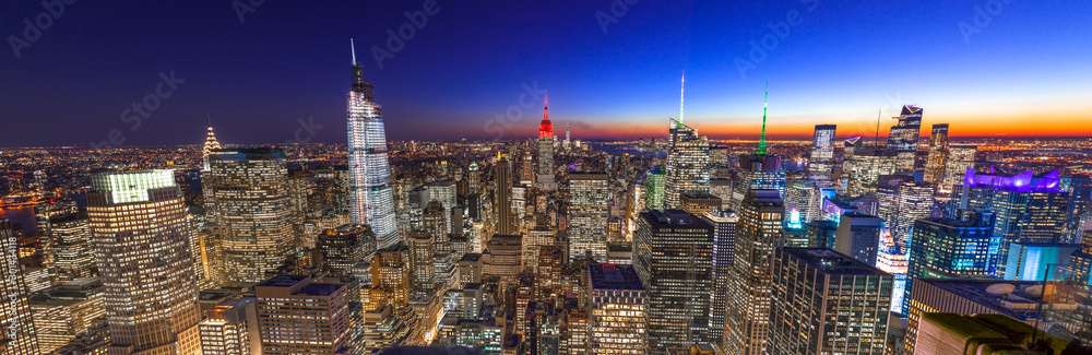 Fototapety, obrazy: New York City Manhattan skyline buildings sunset evening 2019 November