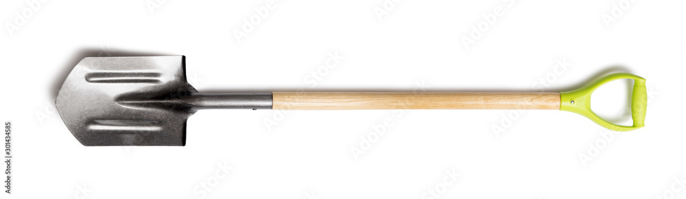 Fototapety, obrazy: Spade shovel with a wood handle isolated on white background. Metal work tool with wooden handle