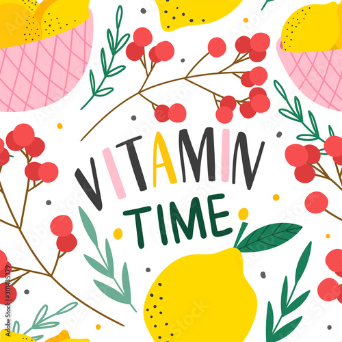 Lemons and berries seamless pattern for prin, textile, fabric. Hand drawn citrus fruits background. - 301435379