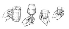 Hand Holds Alcohol Glasses: Tequila, Beer, Whiskey, Wine. Hand Drawn Illustration Converted To Vector. Isolated On White Background