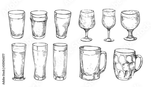 Types of beer glasses Canvas Print