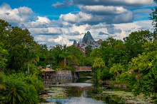 Panoramic View Of Expedition Everest Mountain, River And Rainforest.