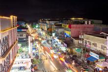Busy Night Street In Puerto Princesa, Palawan, Philippines - April 2018.