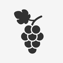 Grapes Icon. Grapevine With Leaf. Wine Logo. Fruit Pictogram. Vector Illustration Isolated.