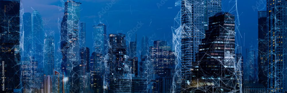 Fototapety, obrazy: Wireless network and Connection technology concept with Abstract Bangkok city background