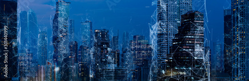 Obraz Wireless network and Connection technology concept with Abstract Bangkok city background - fototapety do salonu