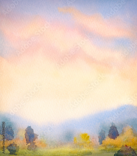 Obraz Watercolor landscape. Sunset over the mountains - fototapety do salonu