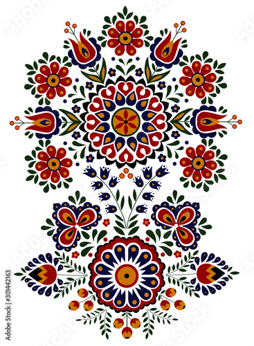 Foto Traditional, colorful folk ornament on a white background.