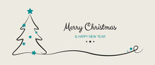 Christmas Wishes With Hand Drawn Tree. Vector.