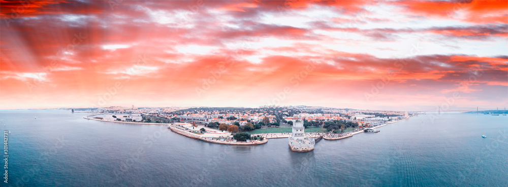 Fototapety, obrazy: Panoramic aerial view of Lisbon Belem Tower and cityscape at sunset