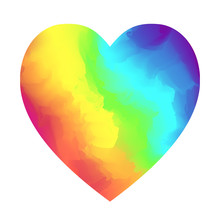 Bright Rainbow Colors Gradient Heart Shape Isolated On White Background. Vibrant Vector Watercolor Hearts Symbol For Valentines Day, Lgbt Concept Design, Banner, Logo