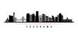 Yokohama skyline horizontal banner. Black and white silhouette of Buenos Yokohama, Japan. Vector template for your design.