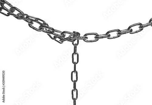 Foto Metal chain isolated on white background with clipping path