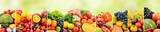 Fototapeta Fototapety do kuchni - Fruits, vegetables and berries on green blurred background