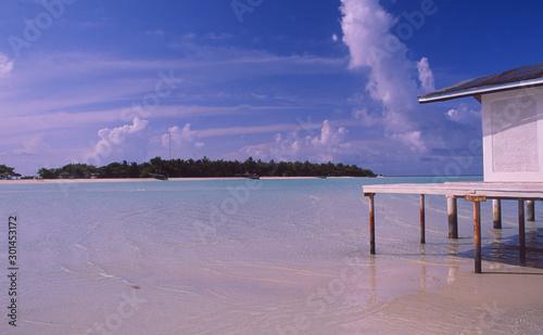 Maledives: The beach of Rihivelli Island in the Ari Atoll, Wallpaper Mural