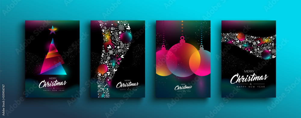 Fototapeta Christmas New Year color holographic neon card set