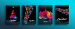 Christmas New Year color holographic neon card set