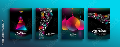 Fotografía Christmas New Year color holographic neon card set