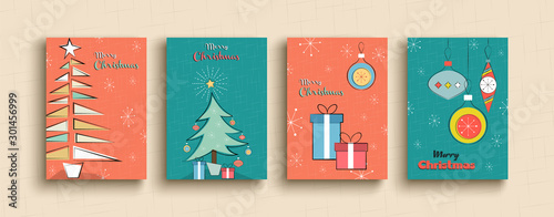 Fototapeta Merry Christmas funny retro cartoon pine tree set obraz