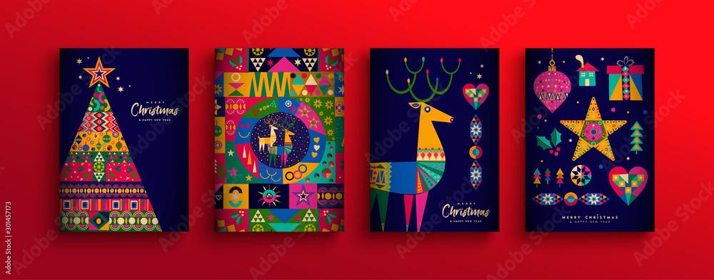 Fototapeta Christmas New Year colorful nordic folk card set