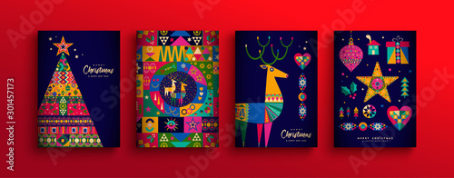 Fototapeta Christmas New Year colorful nordic folk card set obraz