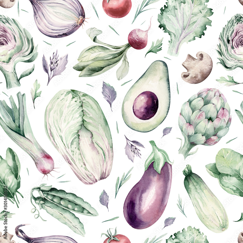 watercolor vegetables seamless pattern of fresh artichoke , bell pepper and avocado veggies . eggplate, leek and broccoli Fabric vegetarian nature green background illustration