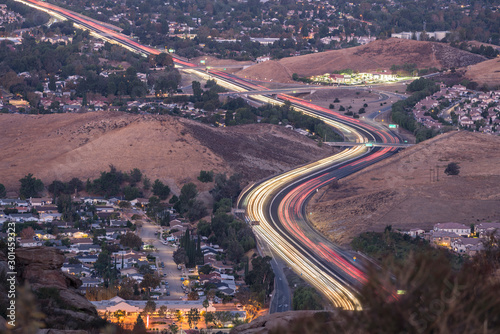 Los Angeles dawn freeway commuters on route 118 near the Santa Susana Pass and Yosemite Ave in suburban Simi Valley, California. #301459323