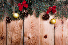 Christmas Decoration On Distressed Wooden Background