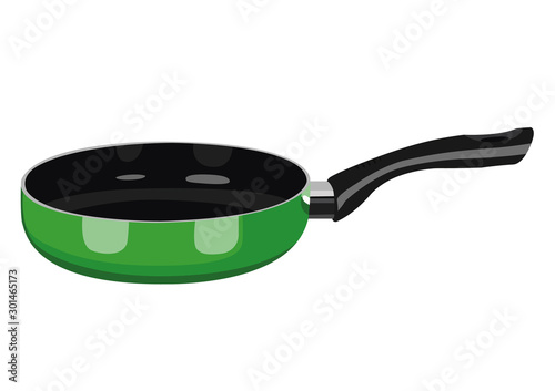 Fotografiet Frying pan green realistic vector illustration isolated