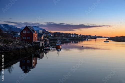 Foto auf Gartenposter Beige Sunset at Helgeland in Nordland county, Northern Norway