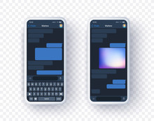 Mobile Messanger Application Mock Up On Two Screen With Keyboard. Smart Phone Concept Of Chat App In Realistic 3d Style. Place Your Text And Picture In Vector Realistic Template.
