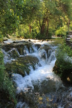A Small Waterfall In The Natur...