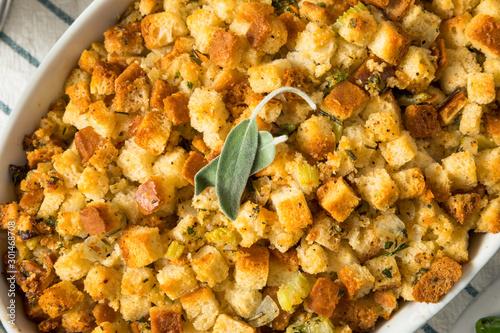 Foto auf Leinwand Brot Homemade Thanksgiving Dressing Stuffing