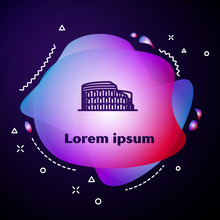 Purple Line Coliseum In Rome, Italy Icon Isolated On Dark Blue Background. Colosseum Sign. Symbol Of Ancient Rome, Gladiator Fights. Abstract Banner With Liquid Shapes. Vector Illustration