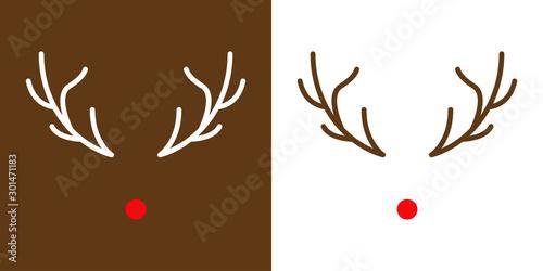 Icono navideño con nariz y astas de reno Rodolfo con color rojo y en fondo blanc Canvas-taulu