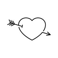Icono Lineal Corazón Con Flecha De Cupido En Color Negro
