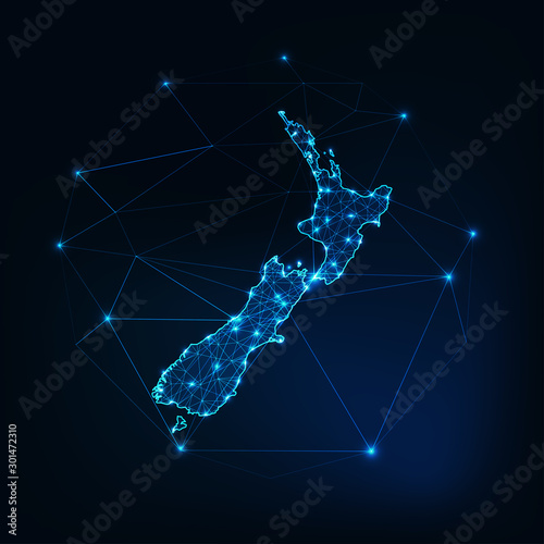 Photo New Zealand map glowing silhouette outline made of stars lines dots triangles, low polygonal shapes