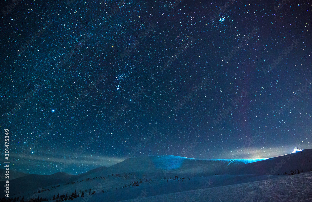 Fototapety, obrazy: Stunning starry sky in a blue haze