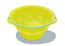 Colander Isolated Yelow Vector...