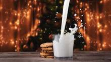 Glass Of Milk With Cookies. Mi...
