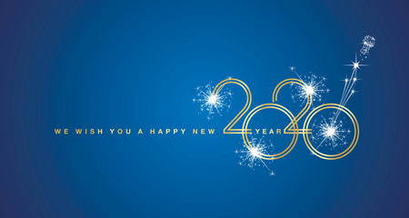 We wish You a Happy New Year 2020 circle line design with sparkle firework gold gold white blue background