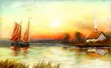 Fisherman, Sailing Boat At Sun...