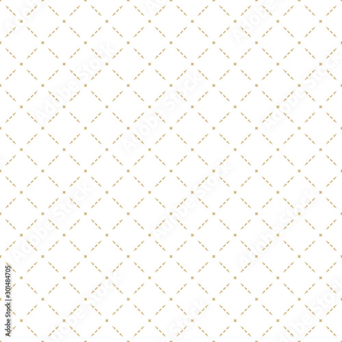 Luxury vector texture. Gold and white abstract geometric seamless pattern