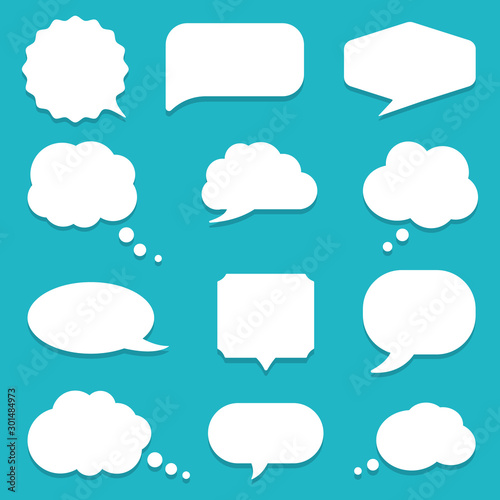 Fotografiet Set of speech bubble, textbox cloud of chat for comment, post, comic