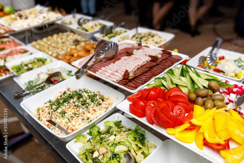 Photo Catering food. Snacks on a banquet table.