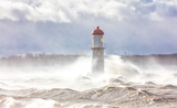 Lachine lighthouse being battered by a storm in early November, Quebec, Canada.