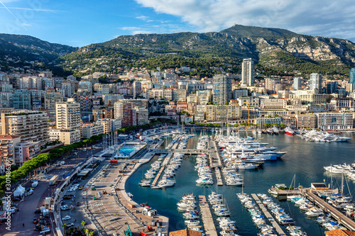 Recess Fitting Mediterranean Europe Monte Carlo, Monaco, 10/05/2019: A beautiful top view of the city marina with luxori yachts and the architecture of a rich city.