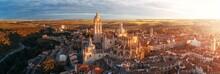 Segovia Cathedral Aerial Panorama View Sunrise